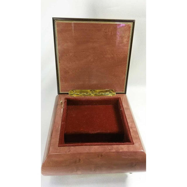 Italian Inlaid Burl Wood Reuge Music Box For Sale - Image 4 of 6