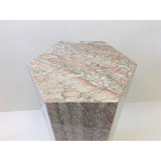 Hexagonal Shape Polished Blush Pink Marble Pedestal For Sale - Image 4 of 8