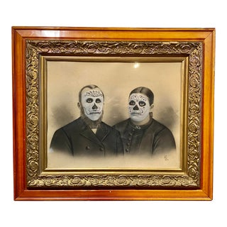 """Grandpa Joe's Parents"" Contemporary Redrawing of 19th Century Photograph by Chris Heck, Framed For Sale"