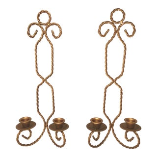 Vintage Gold Wall Sconces/Candle Holders - Set of 2 For Sale