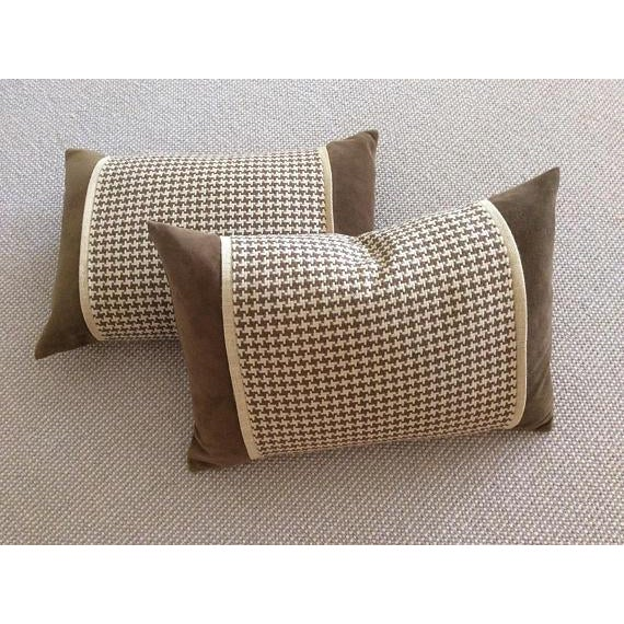 Chocolate Brown Velvet, Brown & Cream Houndstooth Check Woven Pillow Covers - A Pair - Image 2 of 5