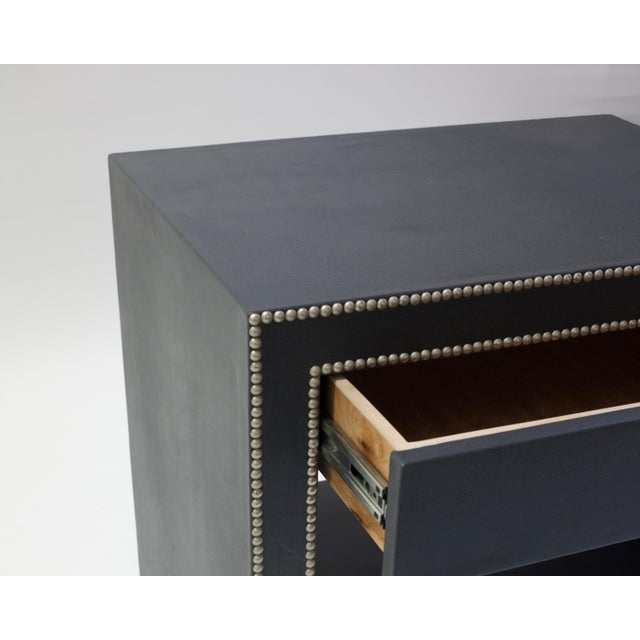 Not Yet Made - Made To Order Leather Covered Bedside Table With Open Shelf Trimmed With Nailheads For Sale - Image 5 of 7