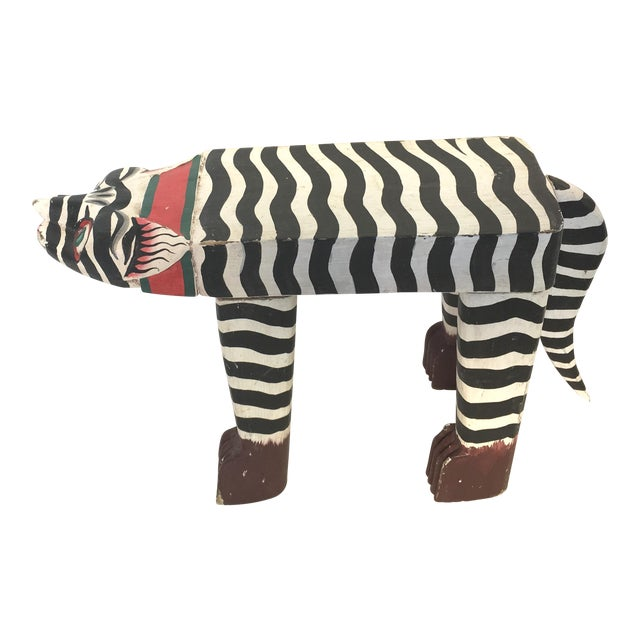 Folk Art Hand-Crafted Zebra Cat Footstool - Image 1 of 5