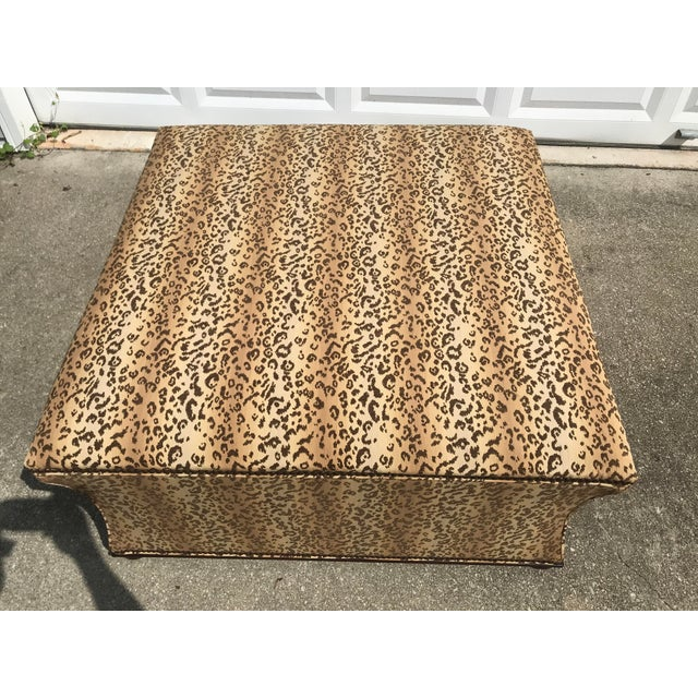 Antique Style Designer Ottoman Leopard Print Upholstery Footstool For Sale - Image 4 of 9