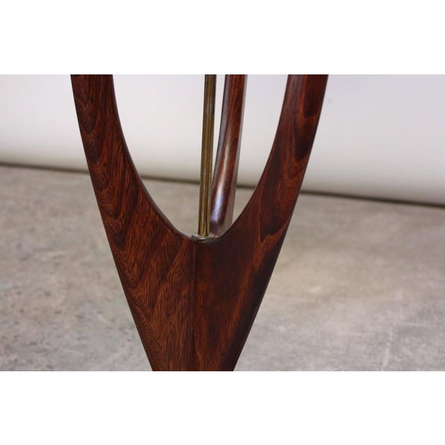 Mid-Century Modeline Stained Walnut and Brass Floor Lamp - Image 6 of 8