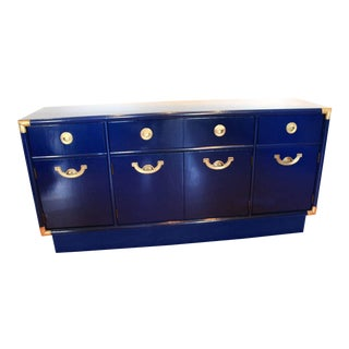 Navy Blue Lacquered Drexel Accolade Campaign Credenza For Sale