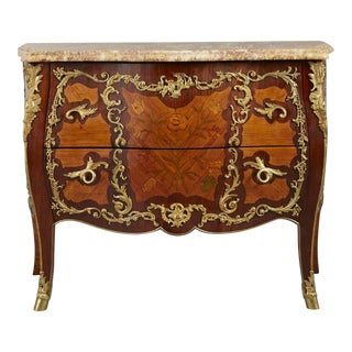 Ormolu Mounted Tulipwood and Amaranth Marquetry Commode For Sale