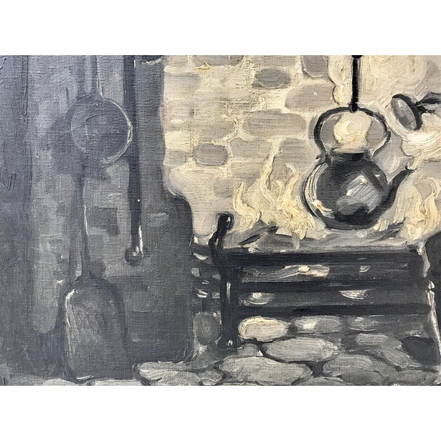 Canvas Vintage Oil Painting American Illustration Art c. 1930s Cabin Interior For Sale - Image 7 of 7