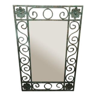 1960s Wrought Iron Verdigris Mirror For Sale