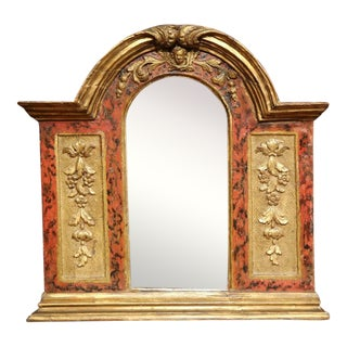 18th Century Italian Carved Polychrome and Gilt Arched Wall Mirror For Sale