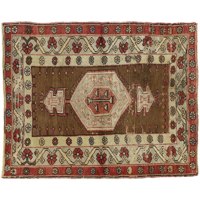 Mid 20th Century Vintage Turkish Oushak Accent Rug - 3'8 X 4'6 For Sale - Image 5 of 6