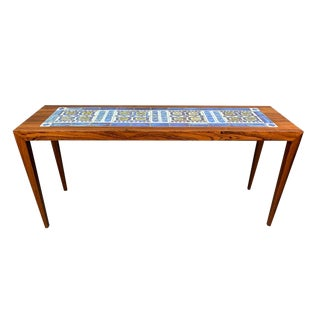 Vintage Danish Mid-Century Modern Coffee Table in Rosewood and Tile by Severin Hansen Jr. For Sale