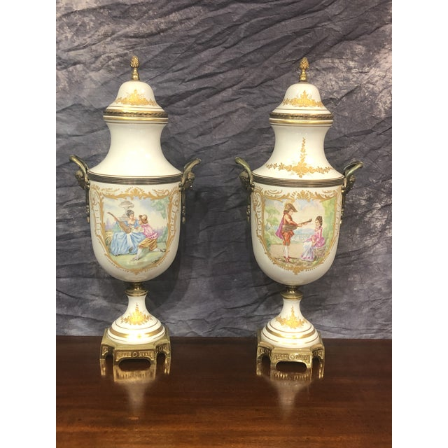 White Late 20th Century Vintage Hand Painted Urns - a Pair For Sale - Image 8 of 8