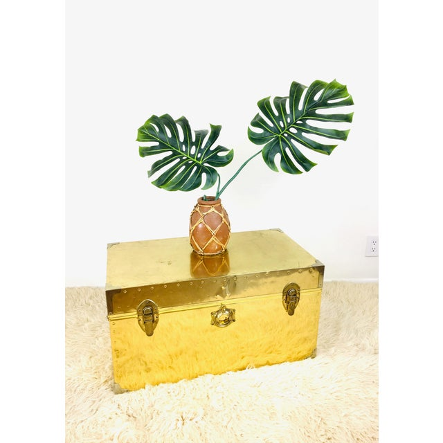 Campaign Vintage Campaign Chest Coffee Table Trunk For Sale - Image 3 of 10