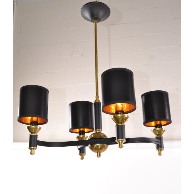 Mid-Century Modern Jacques Adnet Chandelier Mid-Century Modern Brass & Metal Four-Light Chandelier For Sale - Image 3 of 11
