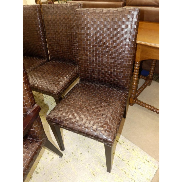 Stone International Modern Italian Woven Leather Dining Chairs- Set of 4 For Sale - Image 9 of 13