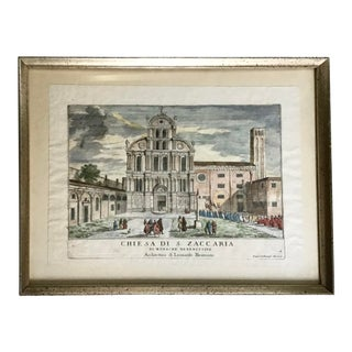 Architectural Italian Lithograph of a Church For Sale