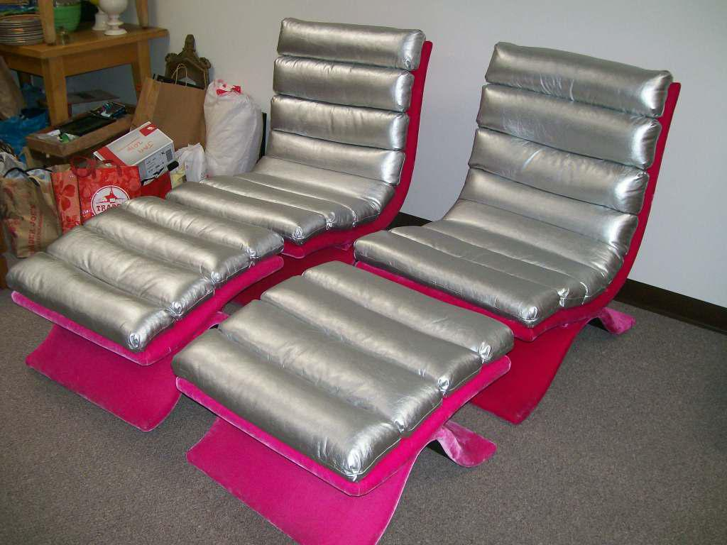 Drexel Mid Century Silver U0026 Pink Lounge Chairs With Ottomans   Set Of 4