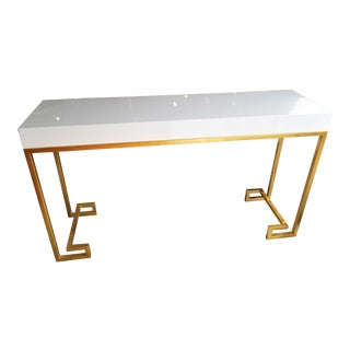 Worlds Away White Lacquer Console With Gold Leaf Greek Key Legs For Sale