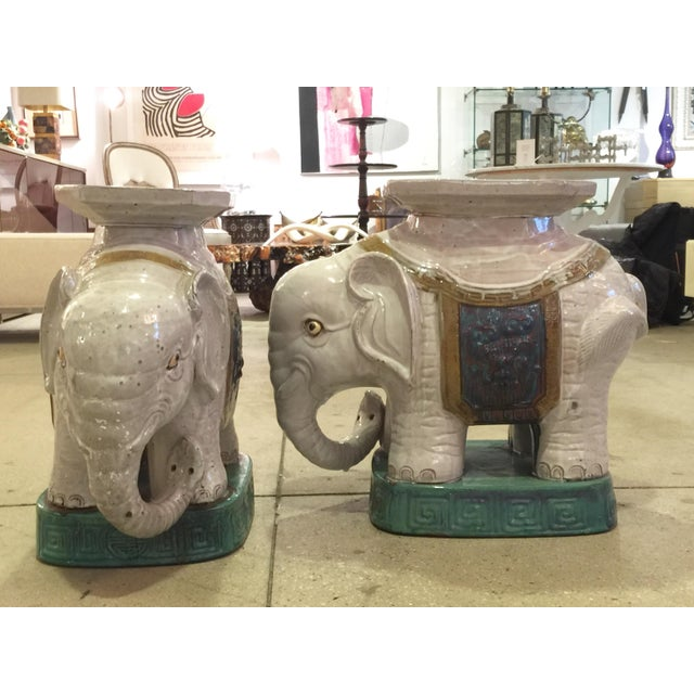 Ceramic Elephant Garden Stools - A Pair - Image 5 of 10