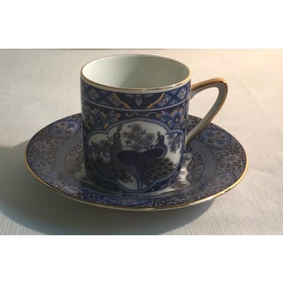 Vintage Japanese Blue and White Peacock Motif Demitasse Cup and Saucer Preview