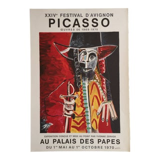 """1960s """"Xxiv Festival D'Avignon Picasso Oeuvres 1969-1970"""" Lithograph Exhibition Poster For Sale"""