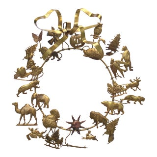 Mid-Century Petit Choses Brass Holiday Wreath For Sale