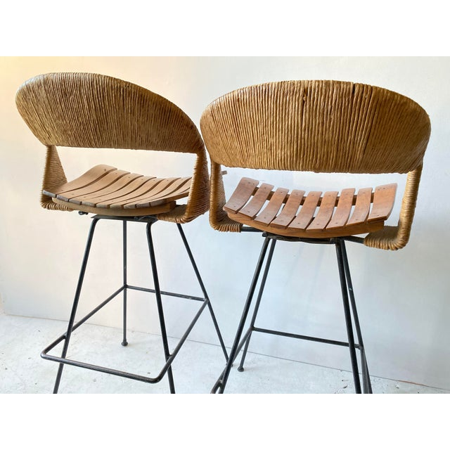 Vintage Arthur Umanoff Iron Wicker Back Counter Height Barstools- A Pair For Sale - Image 9 of 11