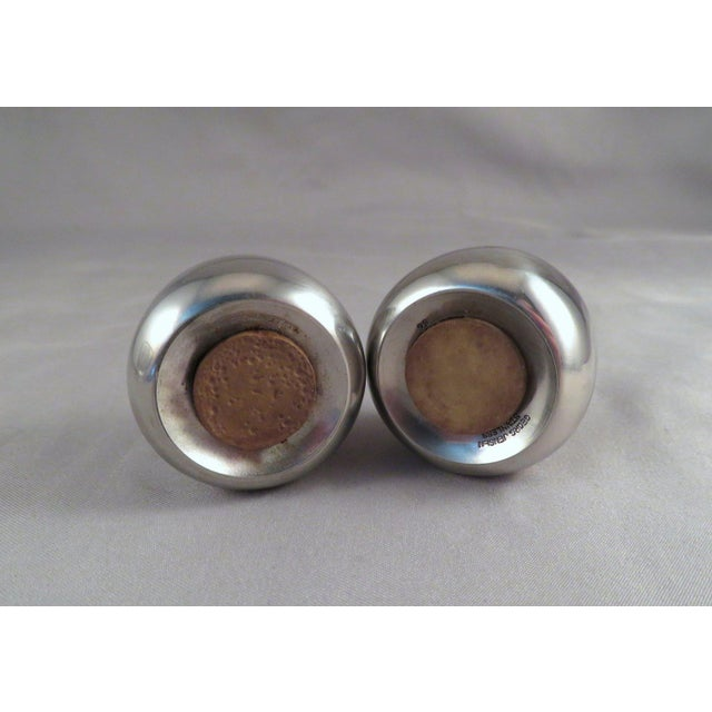 """Mid-Century Modern 20th Century Space Age Georg Jensen """"Castors"""" Stainless Steel Salt & Pepper Shakers - a Pair For Sale - Image 3 of 4"""
