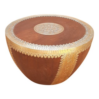 Indian Wood Round Coffee Table For Sale