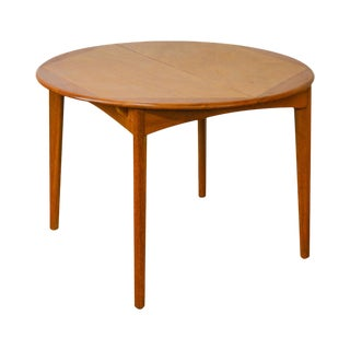 "Danish Modern Vintage 42"" Round Teak Dining Table With Pop Up Leaf"