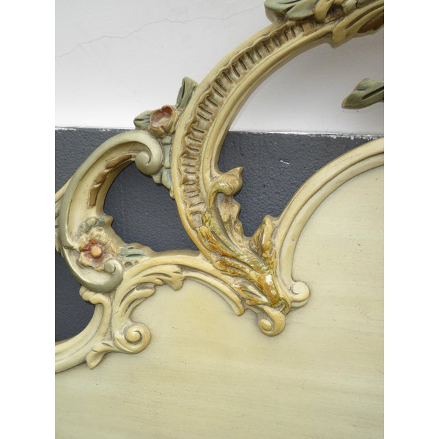Vintage French Provincial Rococo Chic Shabby Ornate Off White King Headboard W Scrolls For Sale In Los Angeles - Image 6 of 10