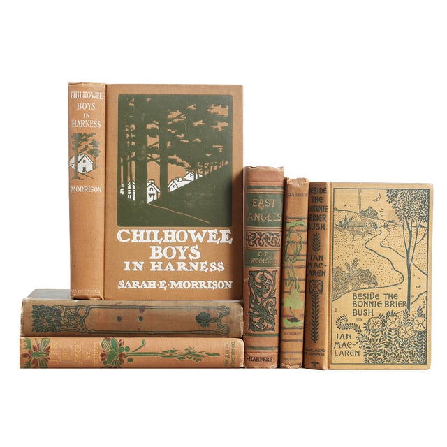 Antique Tan & Green Bookstack - Set of 6 - Image 1 of 2