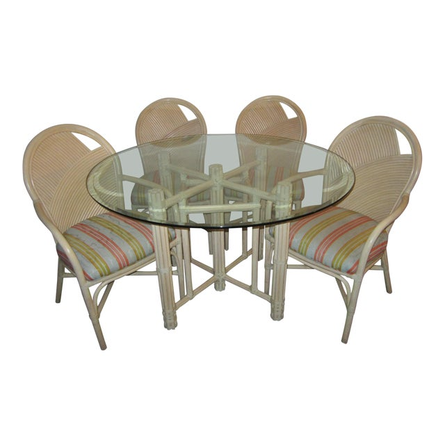 McGuire Vintage Hollywood Regency Bamboo Dining Set For Sale