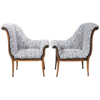 Pair of Regency Style Lounge Chairs For Sale
