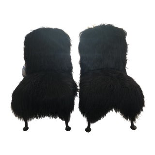 Transitional Icelandic Fur Covered English Chairs - A Pair For Sale