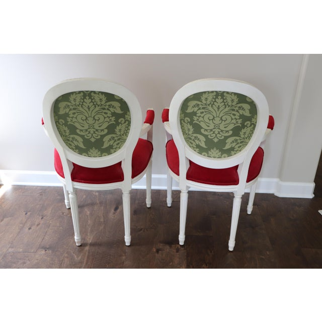 French Ethan Allen Cassatt Armchairs - A Pair For Sale - Image 3 of 8