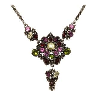 Hollycraft Necklace Multicolor Rhinestones Florets Vintage 1954 For Sale