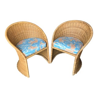 Vintage Boho Chic Wicker Chairs-Pair For Sale