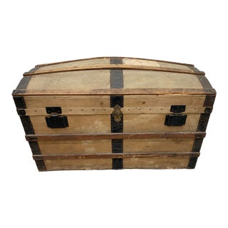 Italian Antique Travel Trunk With Stickers For Sale