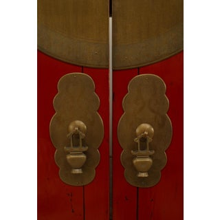 Asian Chinese Style Red Lacquered 2 Door Armoire Cabinet Preview