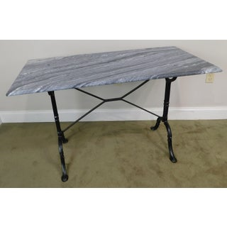 Antique Wrought Iron Base Marble Top Pastry Table Preview