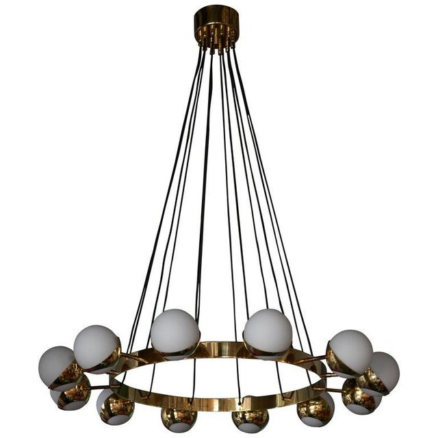 Huge Stilnovo Style Brass and Murano Glass Chandelier For Sale - Image 13 of 13