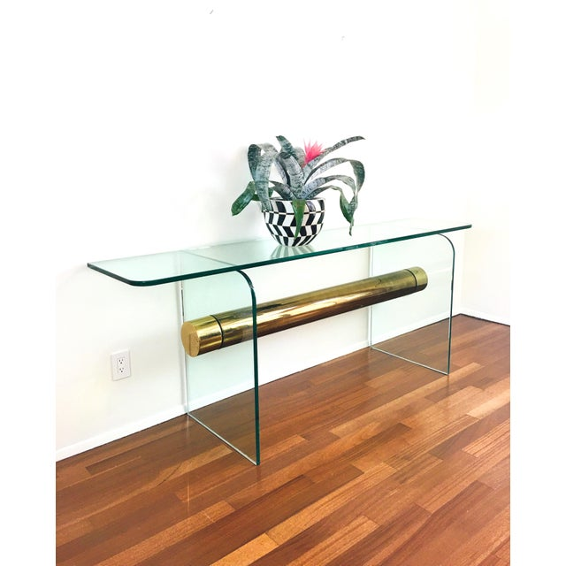 Mid-Century Modern 1970s Ultra Modern Glass & Brass Beam Console Sofa Table For Sale - Image 3 of 11