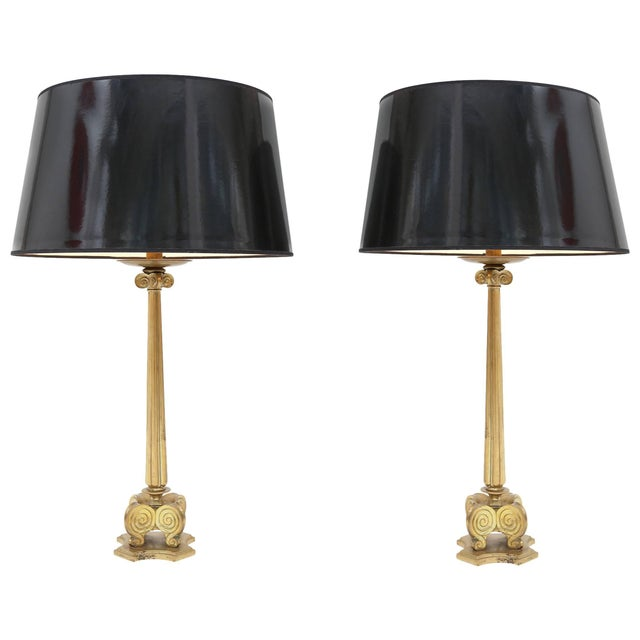 Metal Maison Jansen Style Brass Hollywood Regency Lamps For Sale - Image 7 of 7