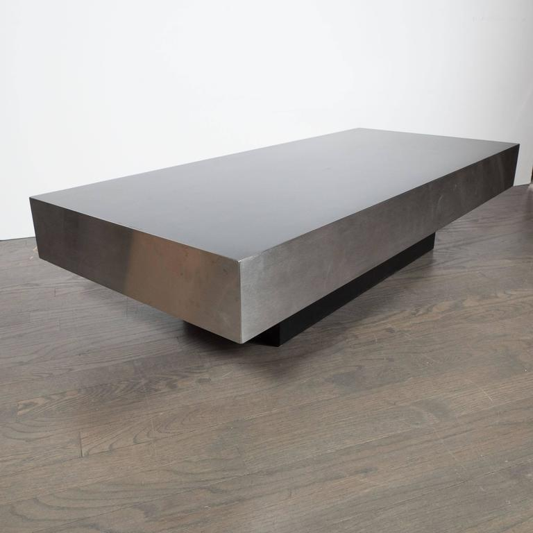 Mid Century Modernist Low Cocktail Table In Brushed Aluminium,