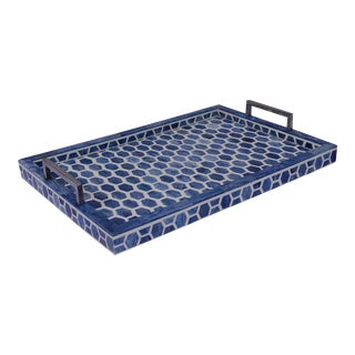 Gramercy Tray in Indigo & White, Medium For Sale