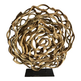 1990s Abstract Dried Vine Sculpture on Solid Black Metal Base For Sale