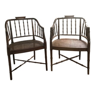 Hekman Hollywood Regency Style Faux Bamboo Arm Chairs - a Pair For Sale