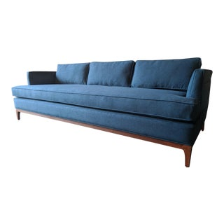 Mid Century Style Custom Sofa in Deep Sea For Sale
